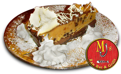 MJ's offers an assortment of fresh desserts. Check out  the peanut butter pie!