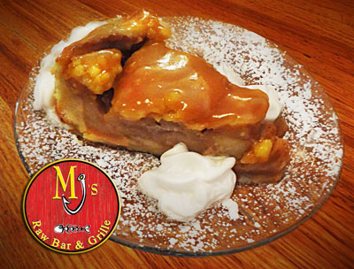 Warm Caramel Blanket over a Deep Dish Apple Pie Dessert at MJ's Raw Bar and Grille, New Bern, NC, Seafood Restaurant.