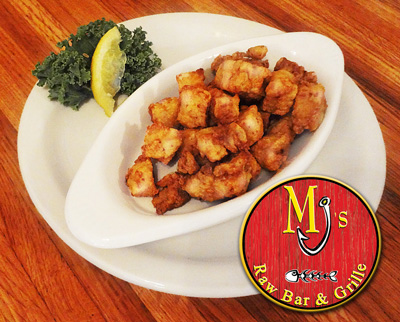 Fresh alligator meat is considered a Cajun seafood delicacy, near the top of the list in low-calorie/high-protein meats at MJ's Raw Bar & Grille in New Bern, NC.