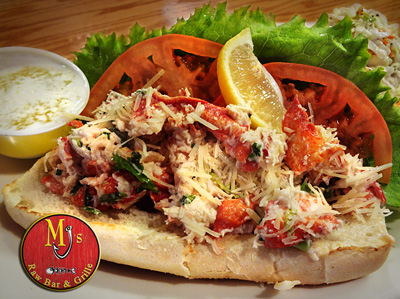 MJ's signature lobster salad stuffed in a hoagie served on top of our homemade slaw and topped with lettuce and tomato