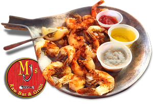 MJ's Peel & Eat Shrimp - A Maryland tradition ...shrimp steamed with onions and Old Bay Seasoning at MJs Raw Bar and Grille, New Bern