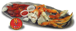MJ's Raw Bar in New Bern, NC- Steamed crawfish, clams, Maryland Blue Crab, Dungeness Crab or Alaskan Snow Crab.